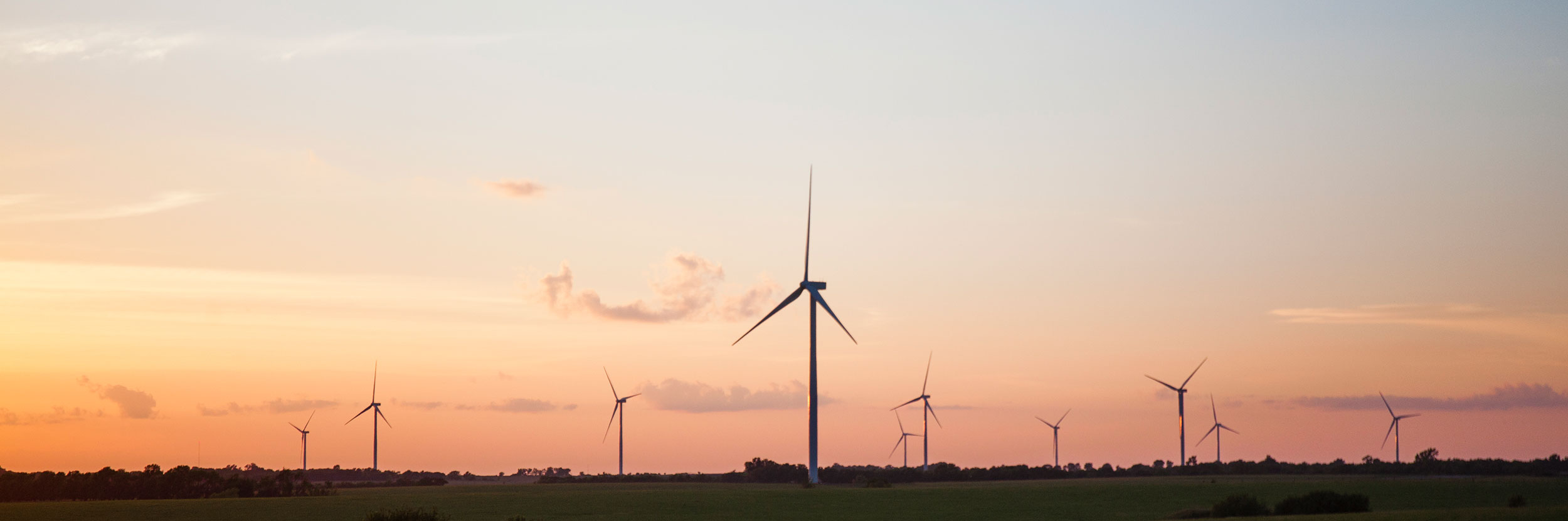 Wind Turbine Sunset Rows